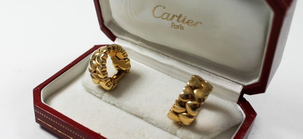 Cartier Ohrringe Gold in Box Markenschmuck